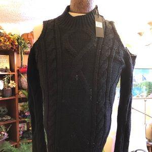 Womens black shoulderless sweater NEW. Medium